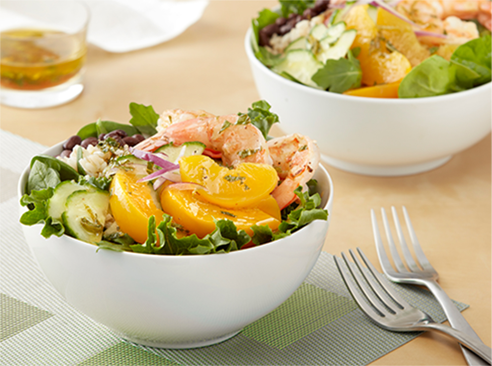 California Cling Peachy Lime Prawn Salad Bowl